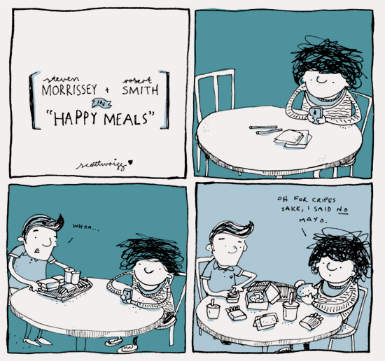 "Morrissey & Robert Smith in ""Happy Meals"""